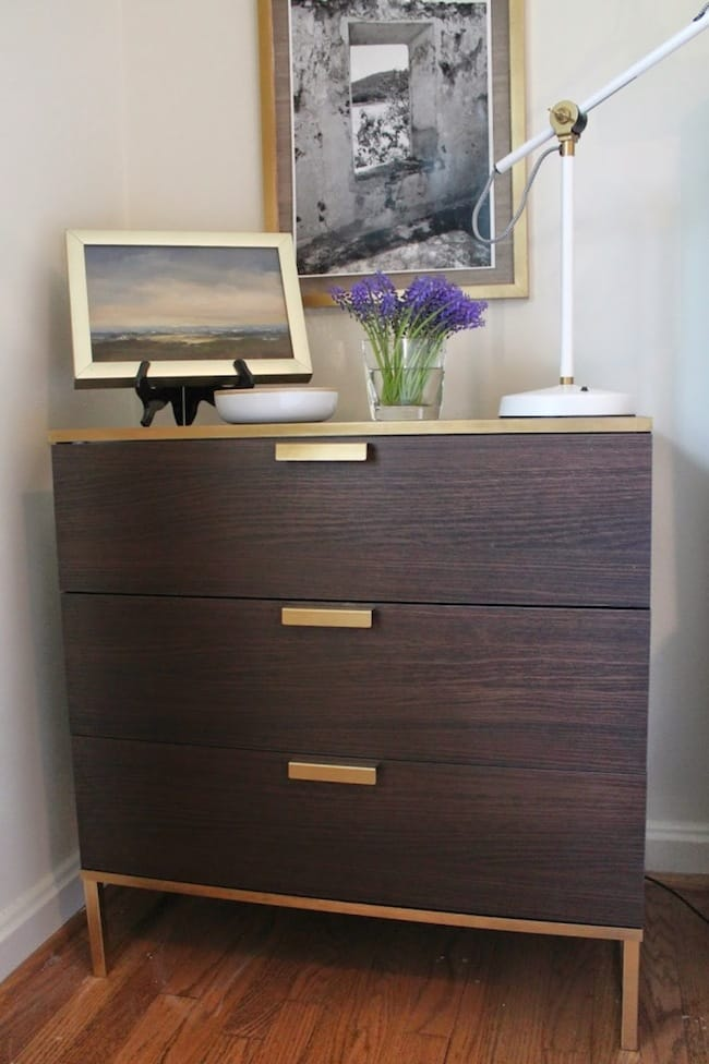 Ikea-Hack-Gold-Spray-Paint-TRYSIL-3-Drawer-chest-682x1024