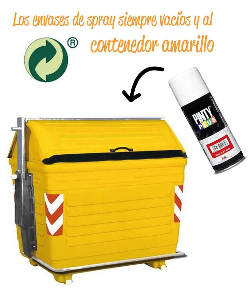 los sprays vacíos al contenedor amarillo