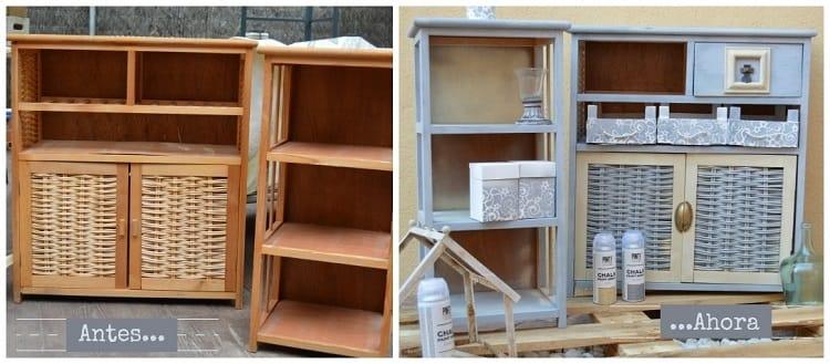 antes y despues de un mueble con spray