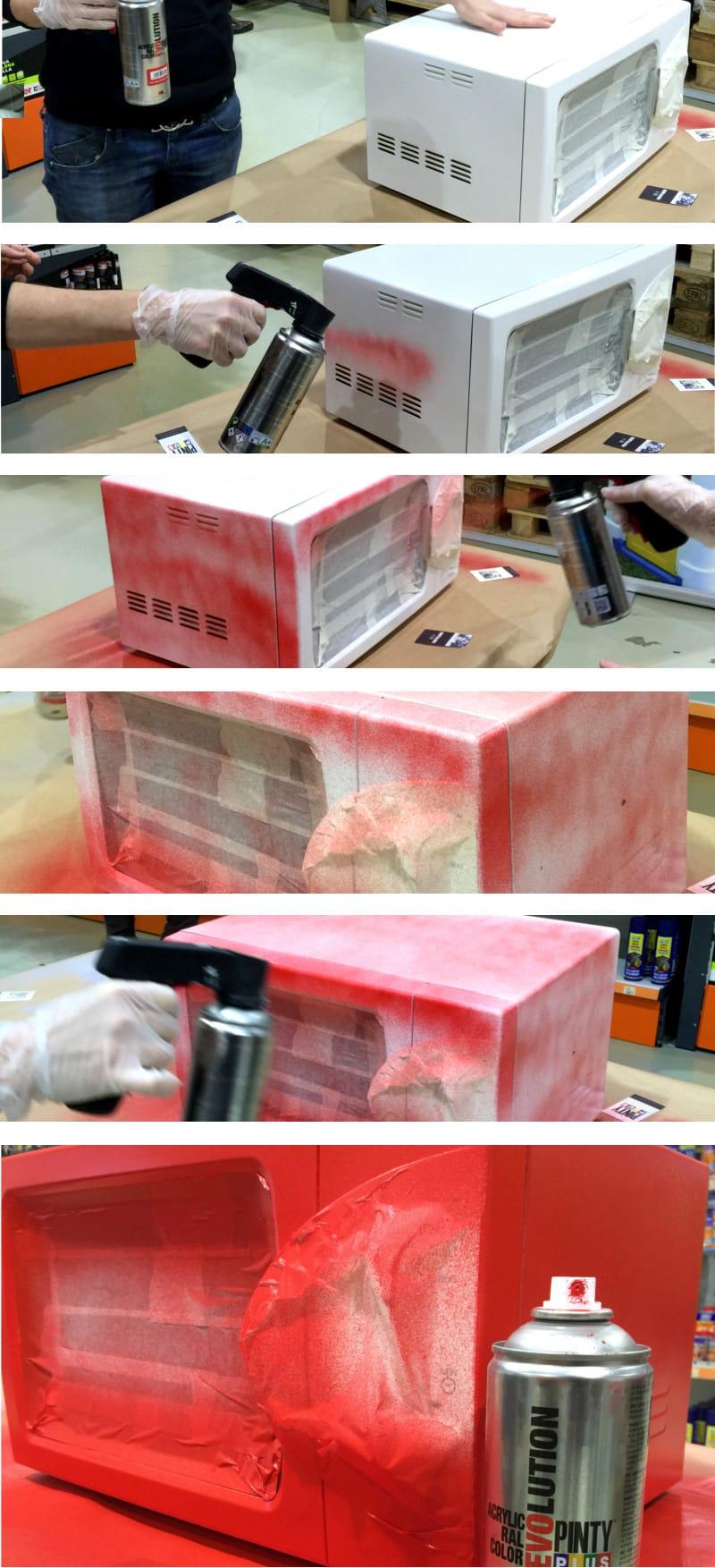 pintar microondas con spray
