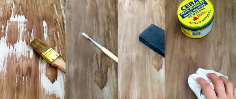efecto madera con pintura en spray