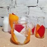 frascos de cristal con pintura en spray