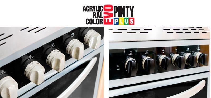 Renovar los mandos del horno con pintura en spray