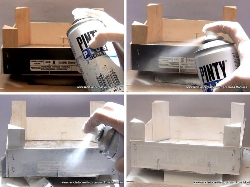Caja de frutas con pintura en spray 1