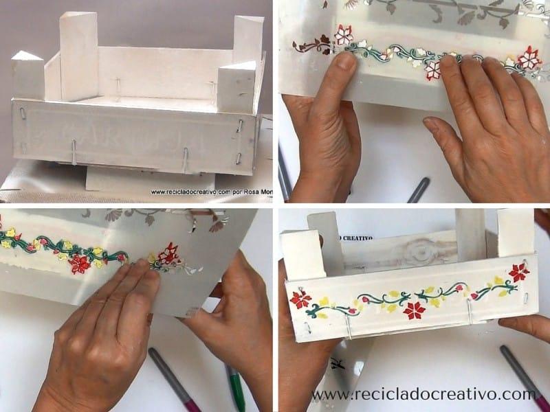 caja de frutas con pintura en spray shakingcolors