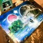 Artista urbano en la playa de la Malvarrosa