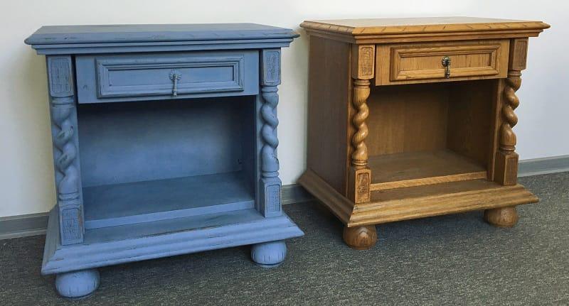 Mesita de noche pintada de azul envejecido shakingcolors - Pintar muebles chalk paint ...