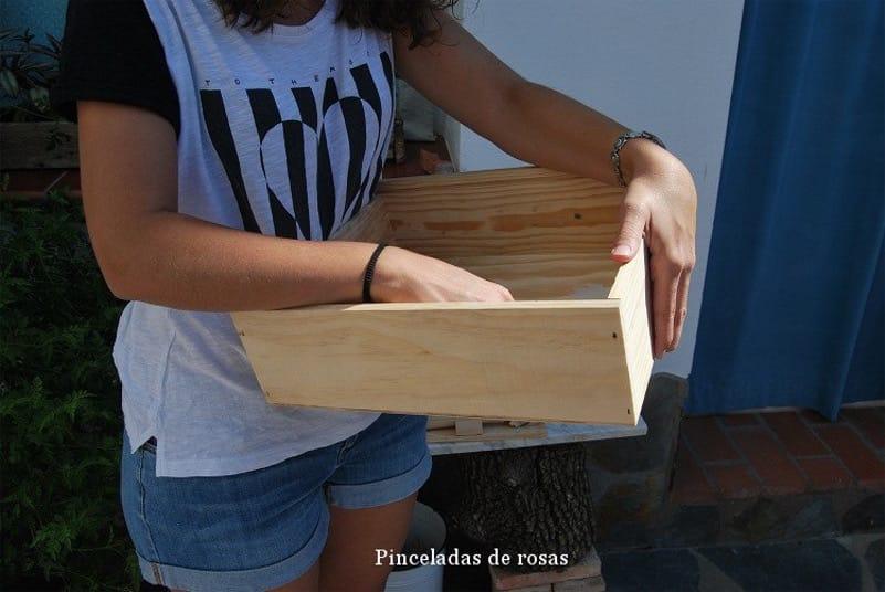 cajas de vino recicladas antes de pintar