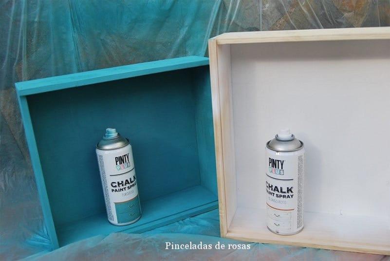 reciclar cajas de vino con Pintyplus Chalk Paint