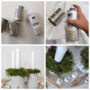centro de mesa de Navidad con latas de conservas