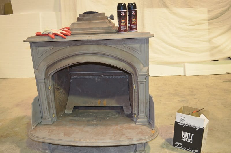 restoration of a fireplace with spray paint