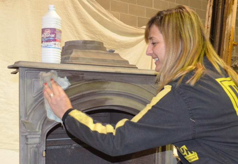 clean before restoring a fireplace with spray paint