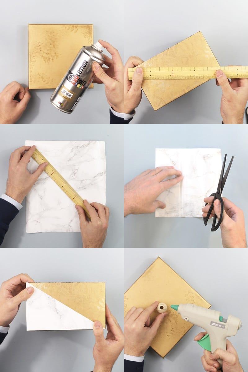 Reciclar una caja de zapatos con pintura en spray - Reciclar marmol ...