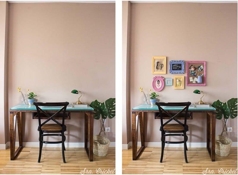 antes y después de un escritorio decorado con marcos pintados con chalk paint en spray Pintyplus