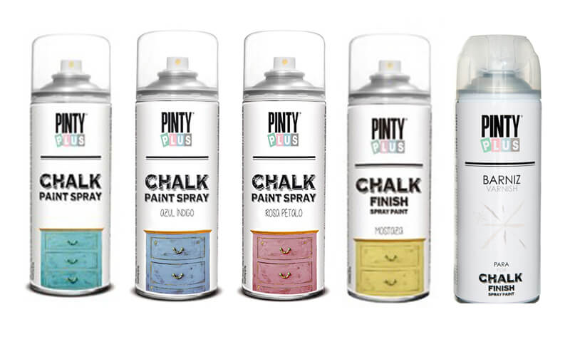 materiales para pintar un perchero con chalk paint en spray de Pintyplus
