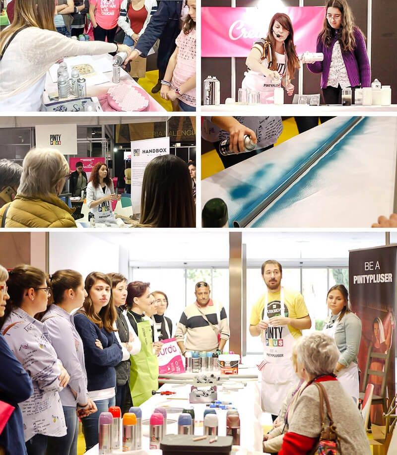 participación de los asistentes a Creativa Valencia en los talleres y demos de Pintyplus