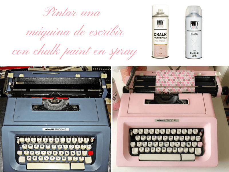 pintar una máquina de escribir con chalk paint en spray