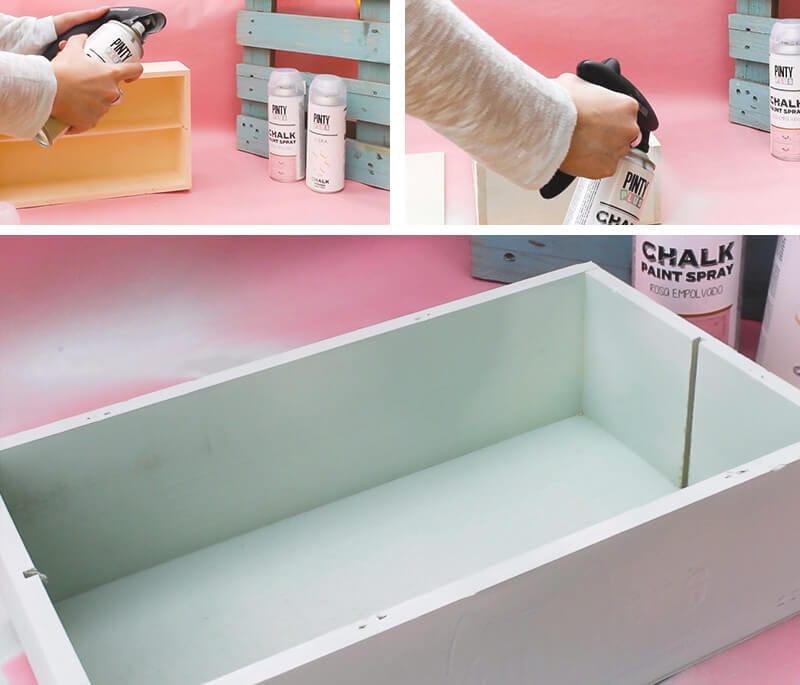 cómo pintar una caja de vino de madera con chalk paint en spray