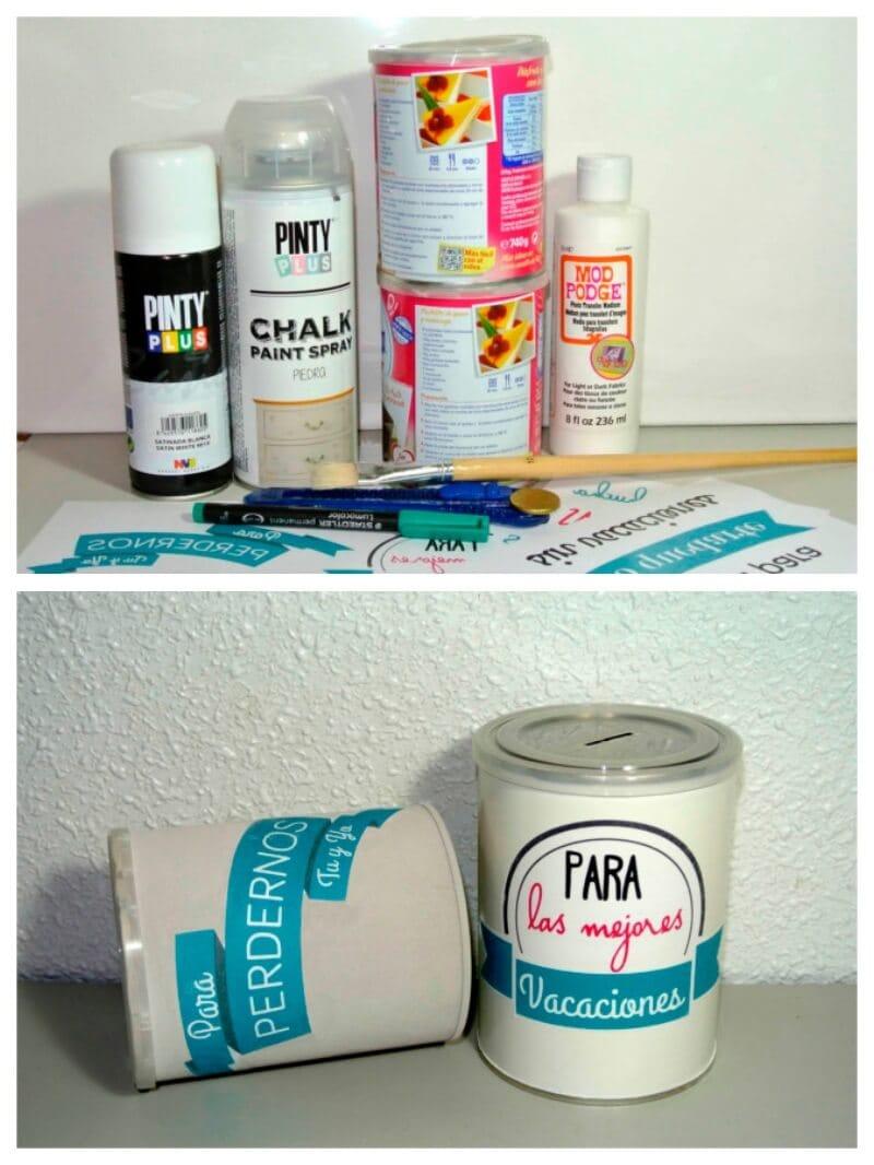 hucha DIY con latas de conservas