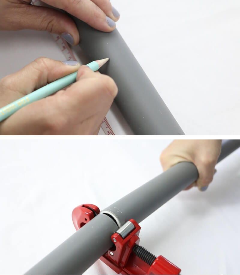 cortar tuberías de plástico para hacer un perchero