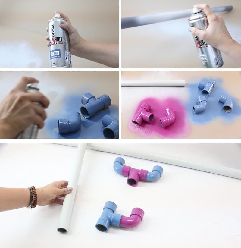 pintar tuberías de plástico con pintura en spray