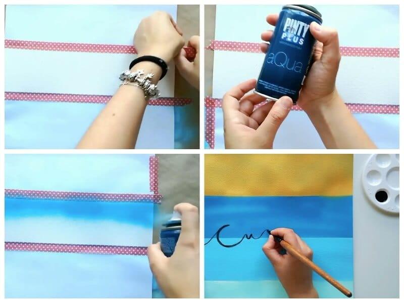 pasos para decorar una lámina con pintura en spray