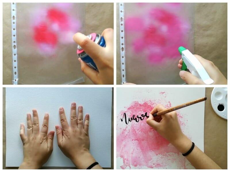 pasos para decorar una lámina con pintura en spray y la técnica de la acuarela