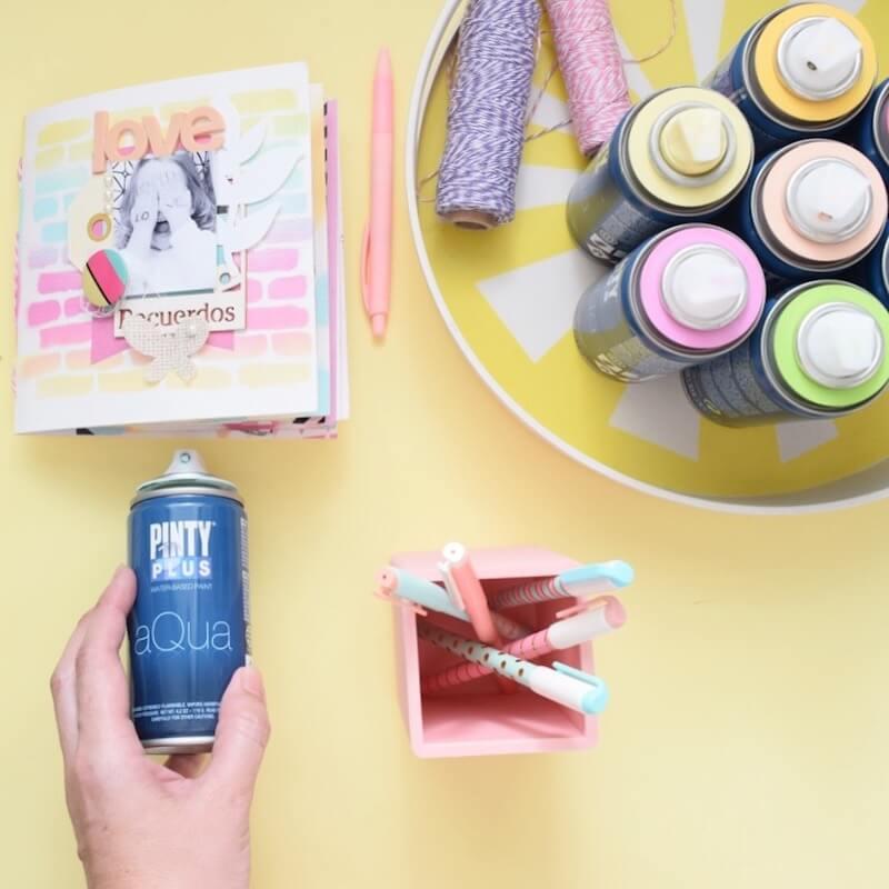 recomendaciones para realizar scrapbooking fácil con pintura en spray