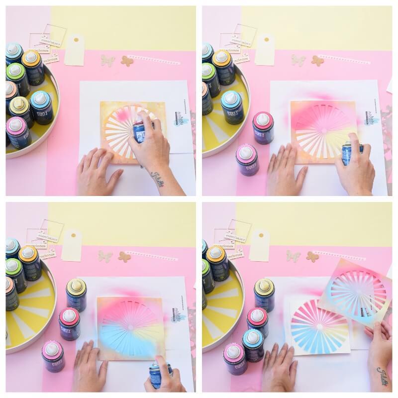 aplicar pintura en spray sobre máscaras y plantillas de stencil para scrap