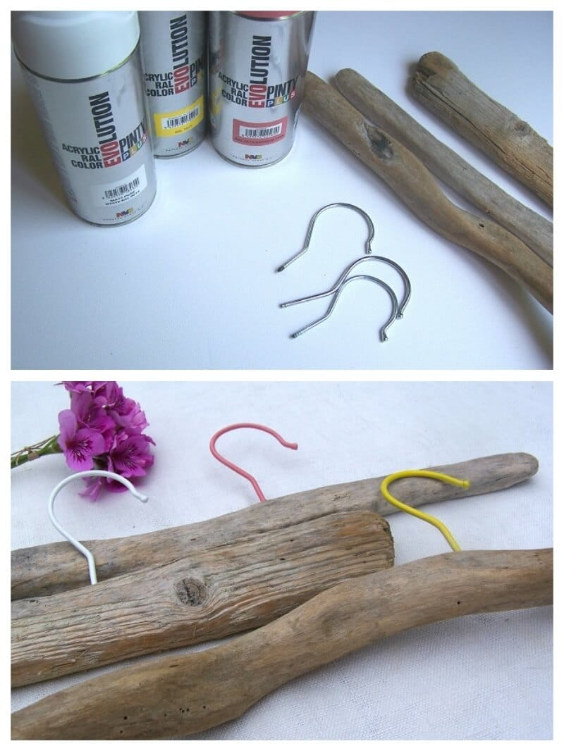 perchas DIY decoradas con pintura en spray