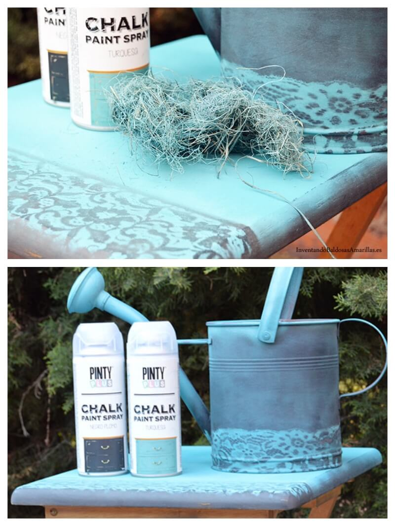 regadera pintada con chalk paint en spray