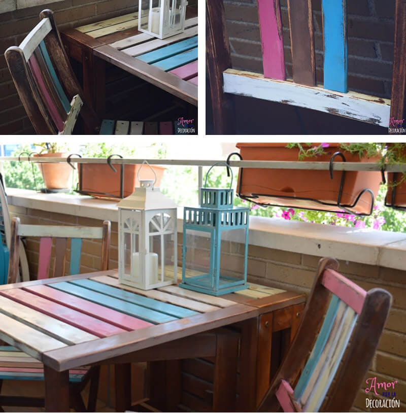 silla y mesa de terraza con chalk paint en spray