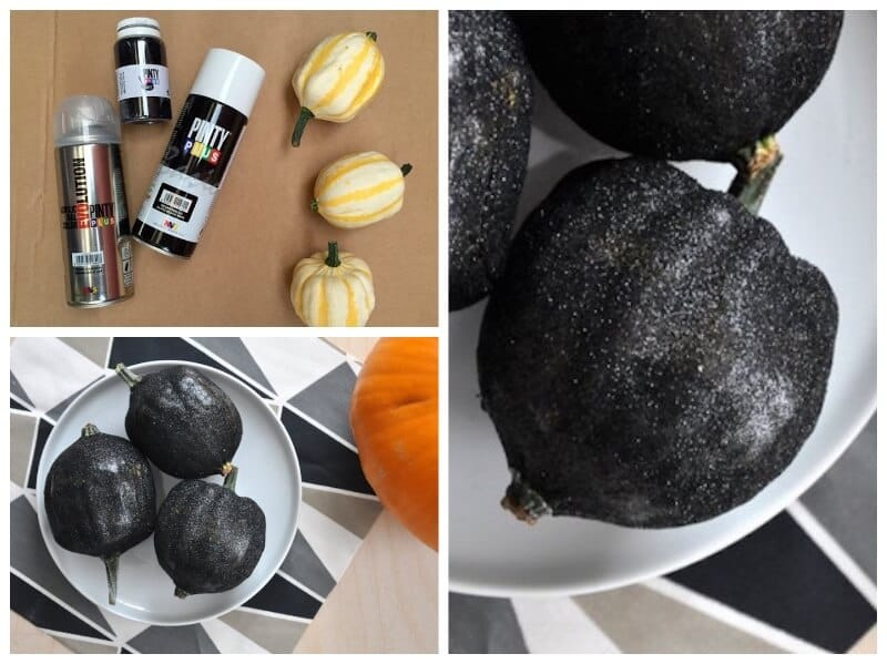 decorar calabazas para Halloween con purpurina