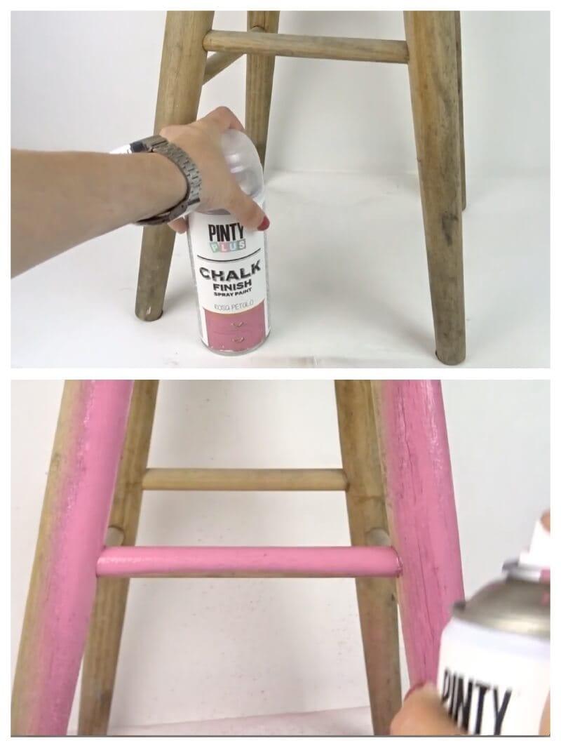 primer paso para pintar con plantillas y pintura en spray