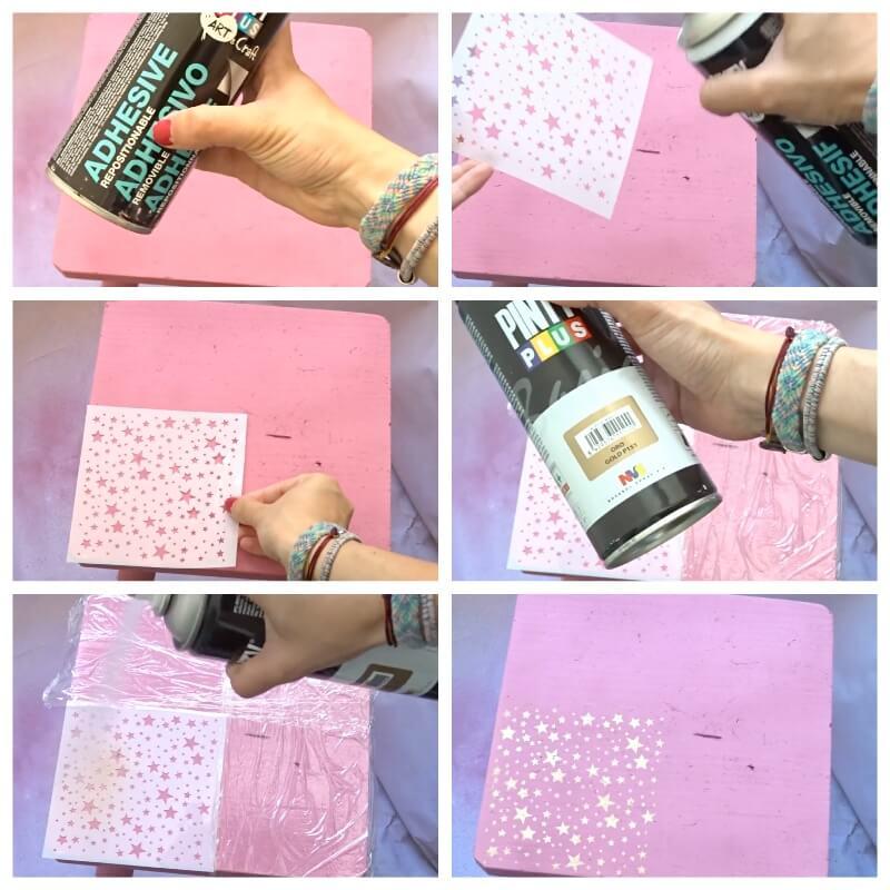 truco para pintar con plantillas y pintura en spray