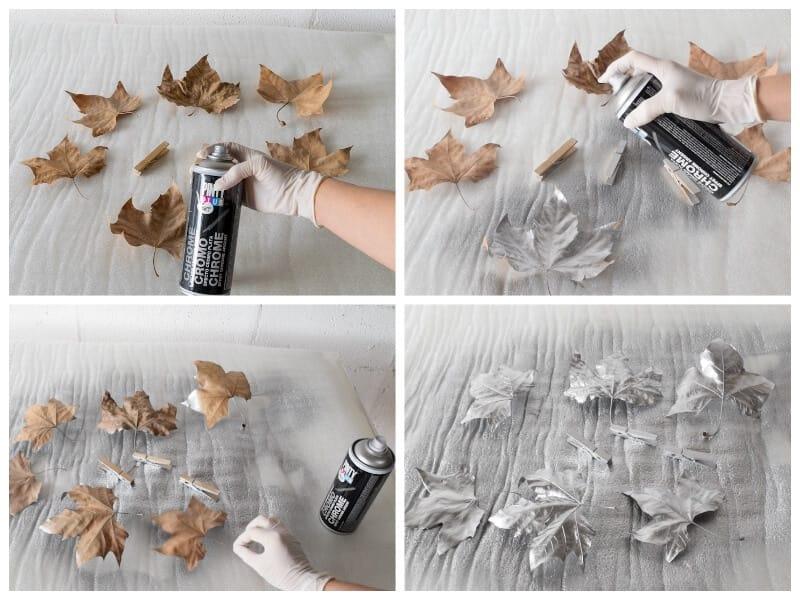 pintar hojas secas con pintura en spray