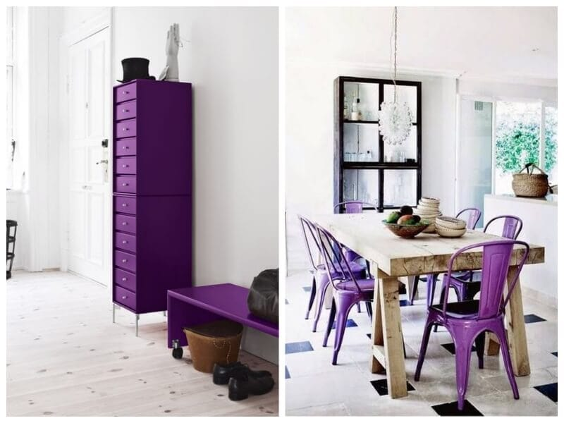 decoración nórdica con ultra violet de Pantone