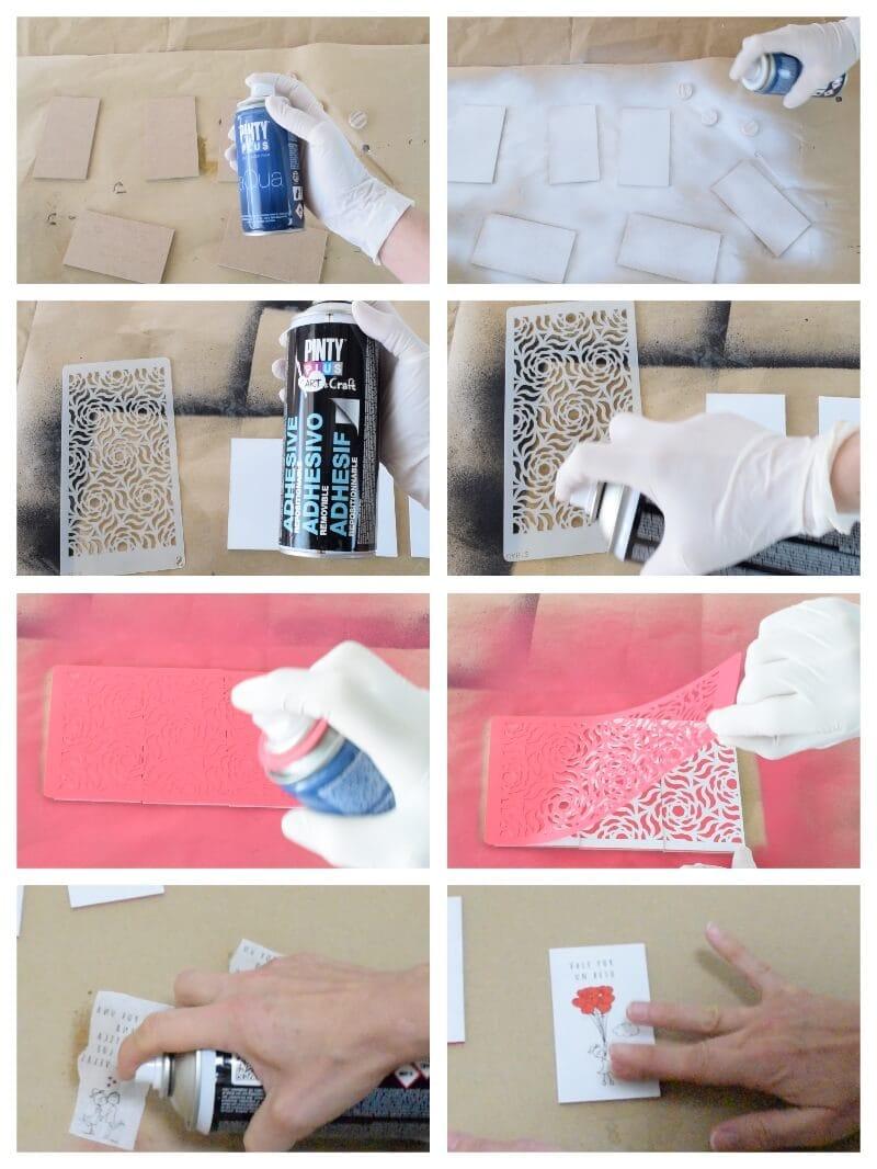 baraja de cartas especial San Valentín decorada con pintura en spray y decoupage