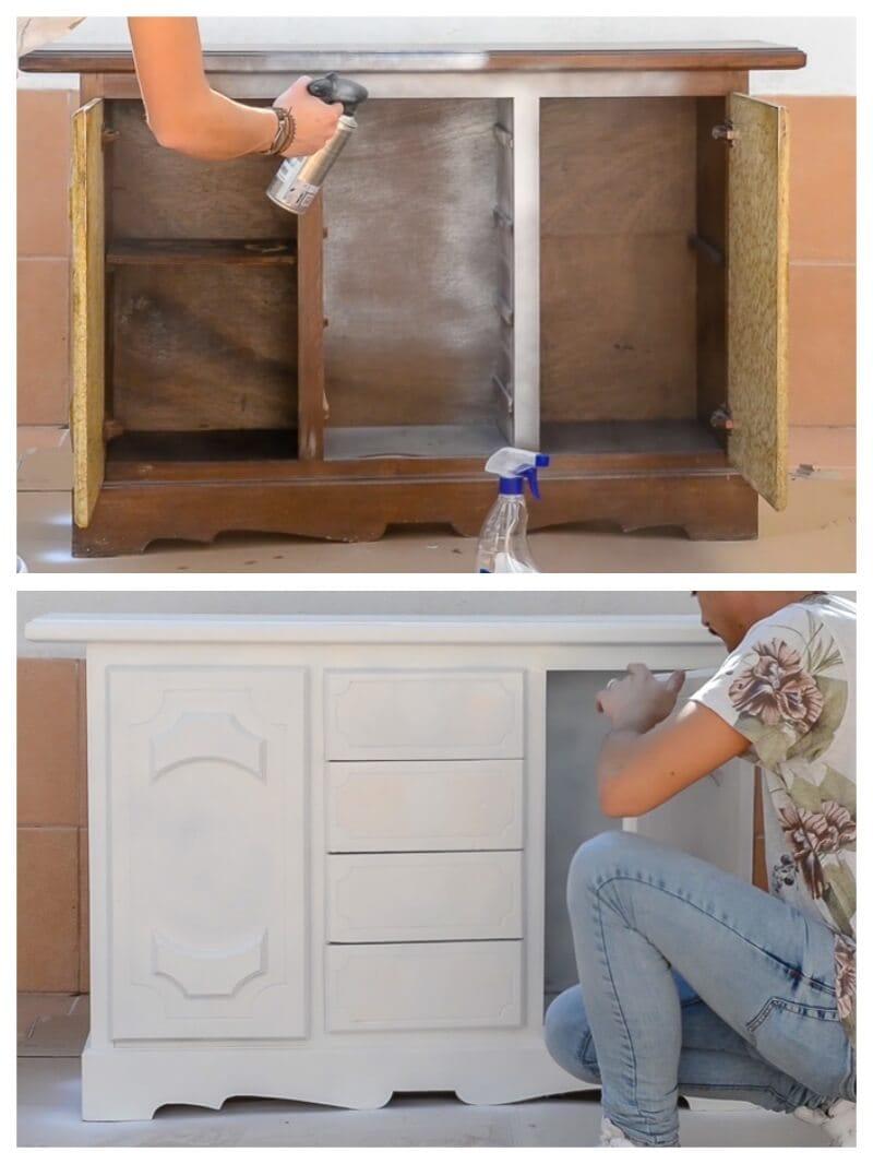 pintar un mueble con pintura en spray
