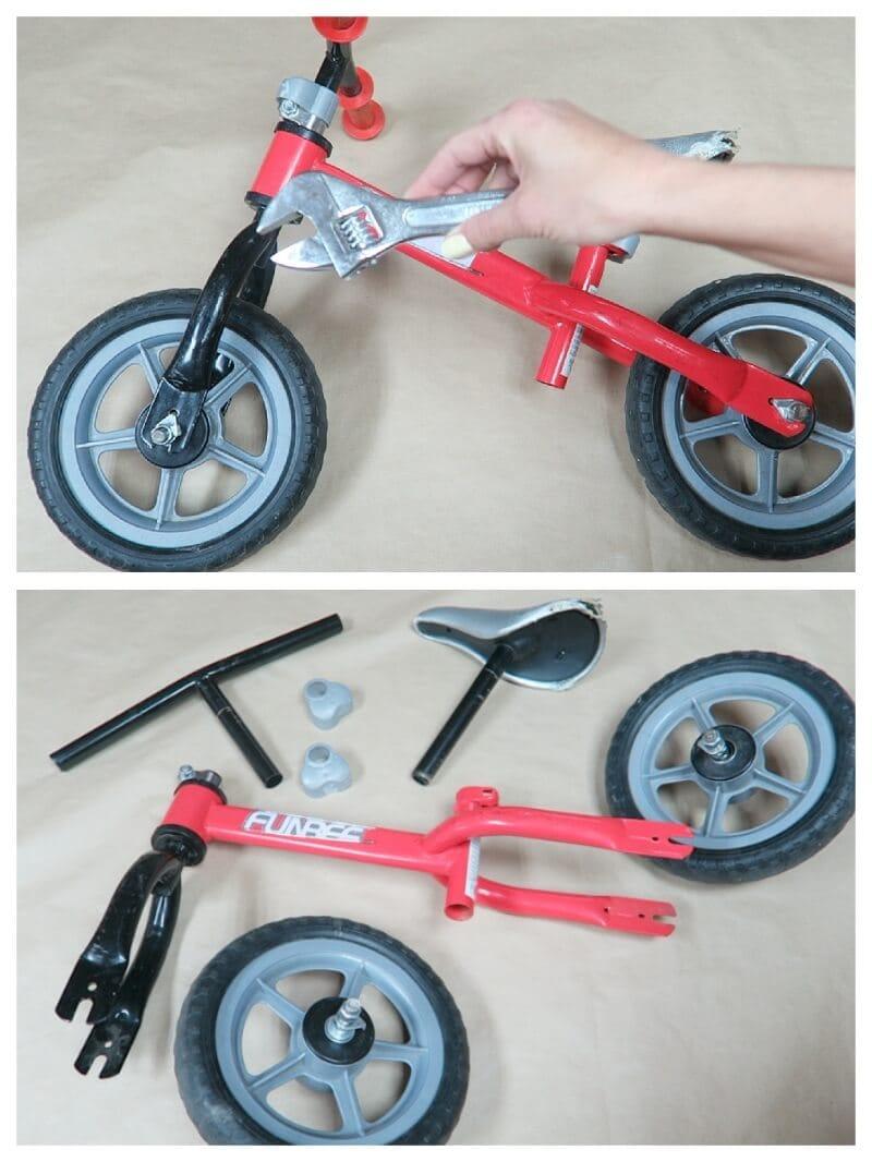 desmontar una bici antes de pintarla