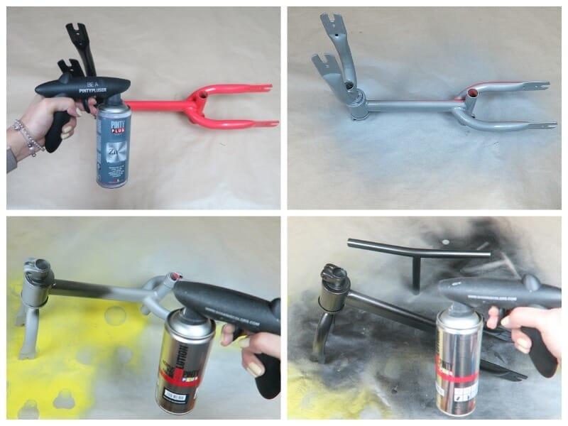 pintar las partes metálicas de la bici