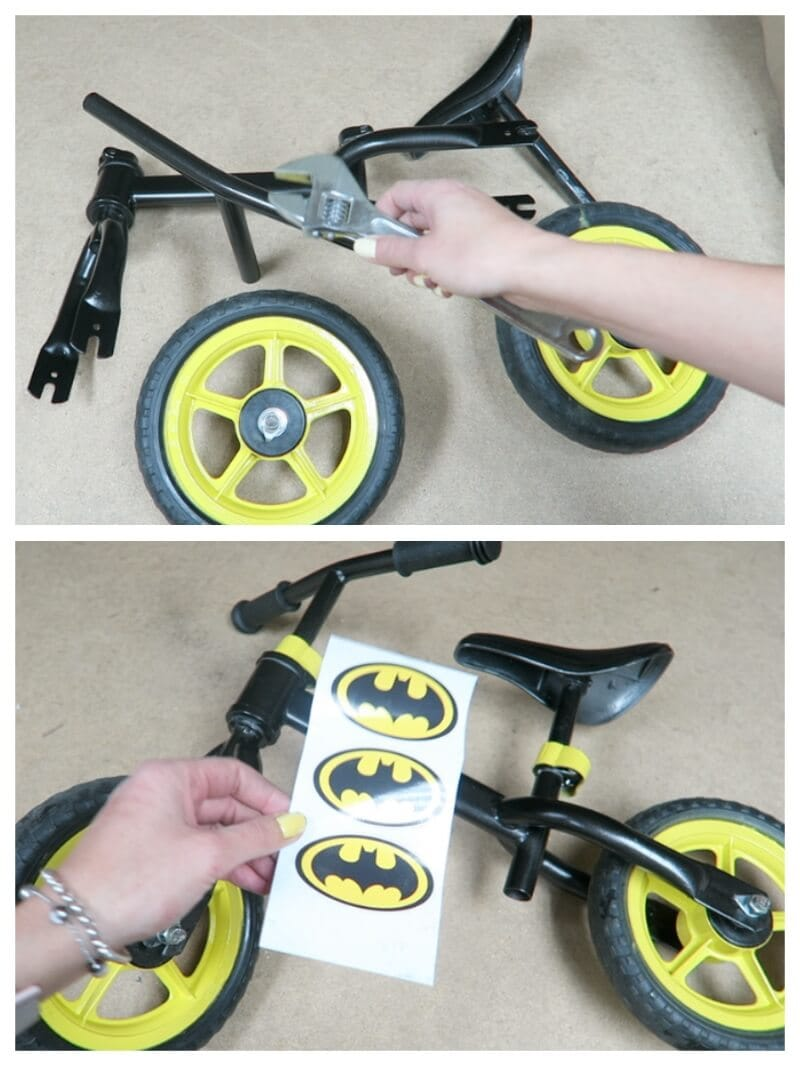 bici Batman con pintura en spray