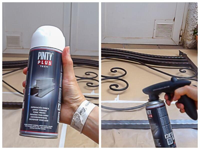 imprimación férrica en spray para pintar un cabecero de forja
