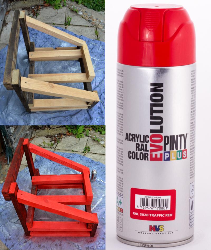 Pintamos la estructura de madera con spray Pintyplus