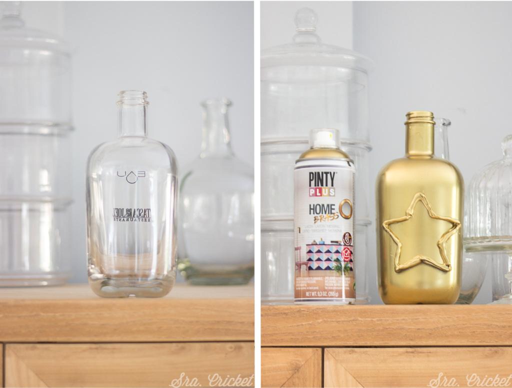 pinta botellas de cristal y decora tu casa