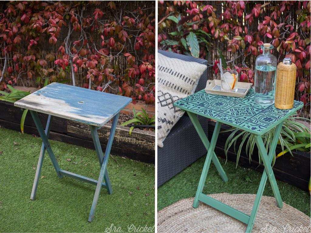 antes y despues de decorar una mesa con pintyplys home