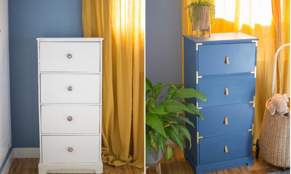 antes y despues de pintar y decorar la cajonera con pintyplus